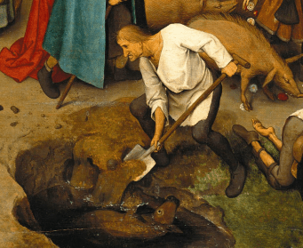It looks like he is wearing a white shirt and a joined hose, 1559