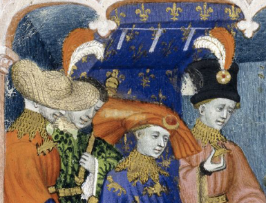 Nobles with amazing hats. The man in the middle is wearing a chaperon with a large piece of jewlery, c. 1413