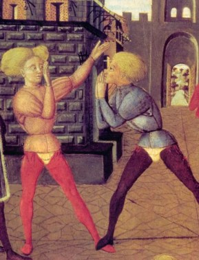 Two young italian men wearing split hose and short doublets with puff sleeves, c. 1450