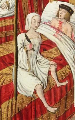 Notice the women's smock; linen head coverings, c 1500