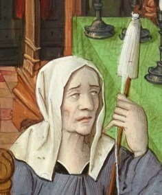 Woman spinning wearing a head scarf/veil c. 1496-1498