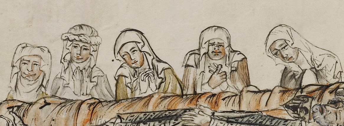 Grieving women in veils. Saint Hedwig Washing the Feet of Lepers; The Burial of Saint Hedwig's Husband Heinrich; Unknown maker; Silesia, Poland; 1353; Tempera colors, colored washes, and ink on parchment; Leaf: 34.1 x 24.8 cm (13 7/16 x 9 3/4 in.); Ms. Ludwig XI 7, fol. 30