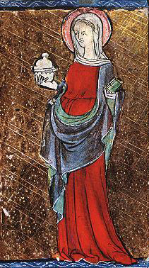 """Belted cote under a drapped mantle (roman style), c. 1284 The drapped mantle might be to indicate that this woman is """"eastern""""."""
