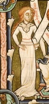 Woman in a simply cute cote with beautiful decorations around the neckline. c 1185