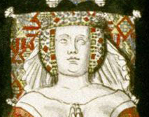 Queen wearing a crespine, crown and veil. 1395. Effigies and Brasses: Hugues de Roucy A (1395). St Yved's Church, Braine, Aisne, France