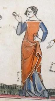 Red cyclas over a dark blue cote. c 1300-c 1340