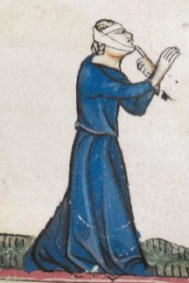 Woman in a belted dark blue cote. Notice the simple neckline, c. 1300-1340