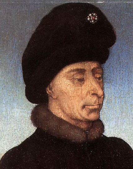Duke of Burgundy, mid 1400's wearing a black baggy hat.