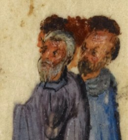 Group of elderly men (possibly the disciples). They look short haired and bearded with no head covering. 1000's