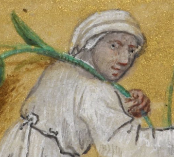 White clothed man pushing a cart. c. 1485-1490
