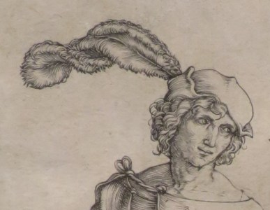 Man wearing a bonnet with a very large feather, c. 1496-1497