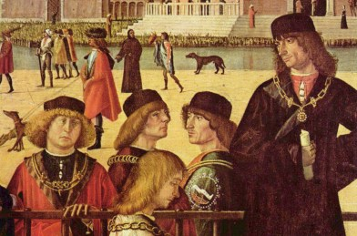 Italian men wearing short black pill box style brimless hats on the street, 1495