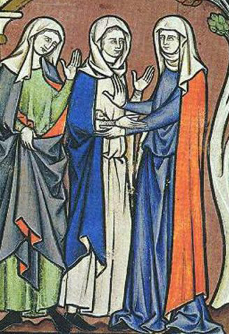 Woman in veils and wimple. They are wearing cotes and mantles. One's cote is very long while the other's are to the ankle. c. 1250