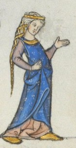 Lady wearing a indigo surcoat, late 1200's end of the 13th century France Lausanne, Bibliothèque Cantonale et Universitaire, U 964 - Biblia Porta fol.178r