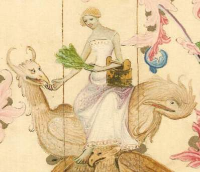 Woman with bath equipment. 1390-1400 No I don't know what the beast is