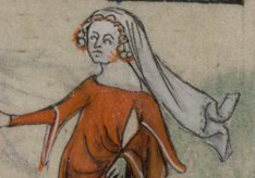 Woman with braided hair under a veil, Yates Thompson 13 c. 1325-1350