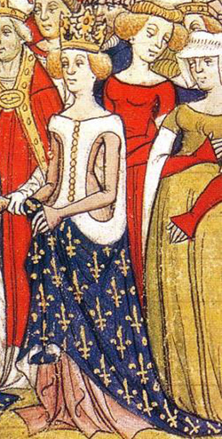 "Marie de Brabant in a sideless tunic with fur and a wonderful pattern. This is the type that is sometimes know as ""hell gates"""