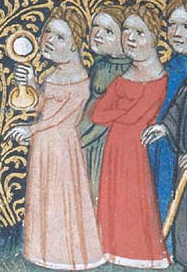 Courtly woman in cotes with wide necklines, c. 1390
