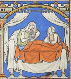 Lady presenting her baby in bed. Her serving lady is wearing a gardecorp over her cote