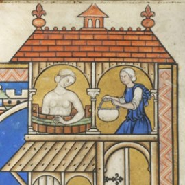 Serving woman wearing a gardecorp over her cote while her lady is bathing. Note that the lady is still wearing her cap while in the bath