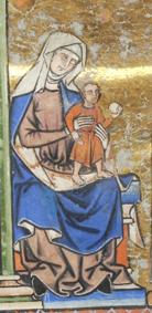 Virgin Mary with Jesus wear blue. France, Paris, ca. 1244-1254. MS M.638 fol. 42v
