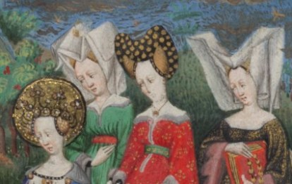 """Ladoes wearing: bourrelet and hairnet and wired """"horned"""" headdress with a veils c. 1410-1430"""