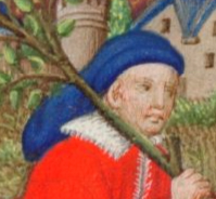 Man carring a three(?), he wears a blue baggy hat, possibly a chaperon, c. 1410-1430 the Bedford Hours c. 1410-1430