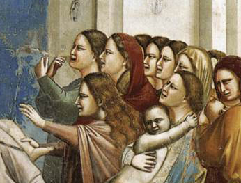 """The Massacre Of The Innocents"" Giotto, 1305, Italy. These are biblical woman (I think) so we should take the scene with a grain of salt, but the painter has clearly seen women with this kind of hair styles before."
