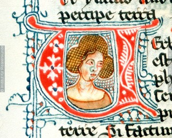 Lady with her hair in a hairnet in an unusual style,1341, Austria, St. Pölten Herward von St. Andreae unspecified manuscript, initial V