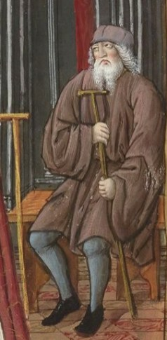 Old man in a loose short belted robe or tunic wearing hose and a little hat. Notice the wide sleeves. From: The Epistles of Ovide, translated by the late Bishop of Angouleme, named OCTOVIEN DE SAINT GELAIS. Date of publication: 1501-1600