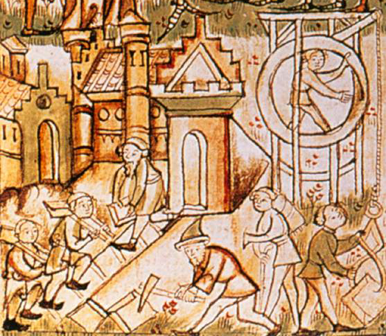 The miniature from a 1300s German manuscript shows the class division within the town 14th century Manuscript Biblioteca Municipale, Trento