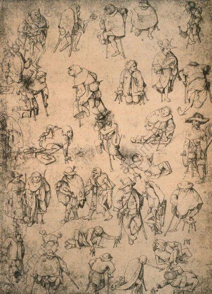 """Cripples, beggars and street musicians"". Bosch, Hieronymus c. 1450 – 1516. (also attributed to Pieter Bruegel the Elder)."
