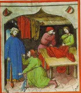 A tailor shop in action. A man is fitting a robe. From La boutique de B.A 1415