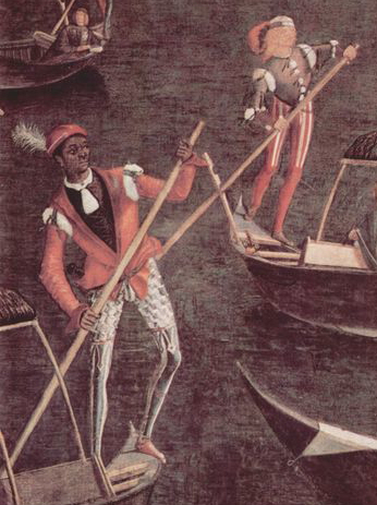 Venetian gondoliers wear open-fronted, slashed doublets and hose divided into upper and lower sections, 1494. Source unknown