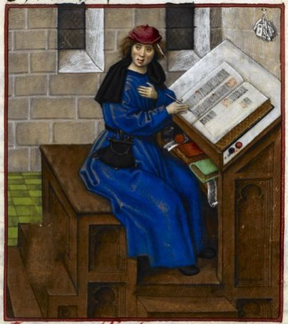 Jean de Meun wearing a blue robe, belted with a belt purse. He is also wearing a red beret. He has messy chin long hair. He is busy penning a manuscript. Notice how much fabric is in his robe. Detail of a miniature of Jean de Meun writing his book, from the Roman de la Rose, Netherlands (Bruges), c. 1490 – c. 1500, Harley MS 4425, f. 133r