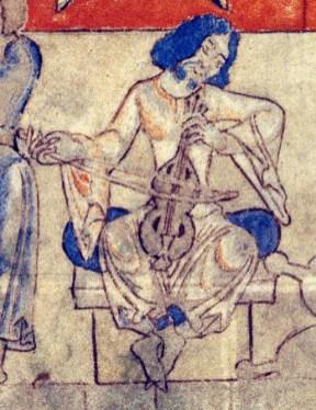Musician playing a stringed instrument. Dijon, 0014 ms, origin: Cistercian abbey, 1009-1111