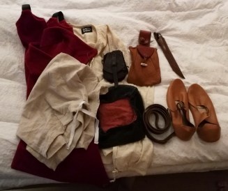 Kasper's costume set out on the bed the night before (minus the tunic)