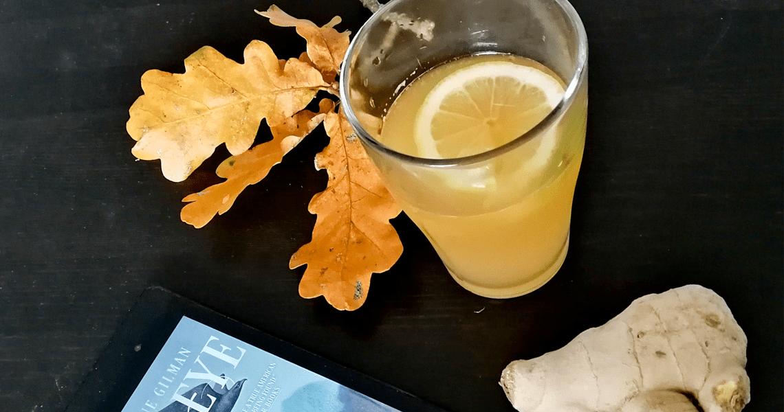 Glass of ginger beer with lemon slice