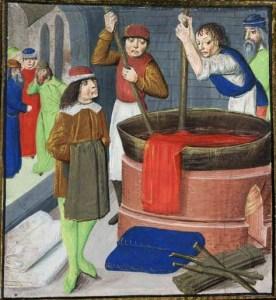 Men dyeing fabric, 1482