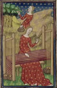 Pamphilia collecting silkworm cocoons and weaving silk fabric, Boccaccio, De Claris Mulieribus, France, ca. 1440, British Library, Royal 16 G V, f. 54v.