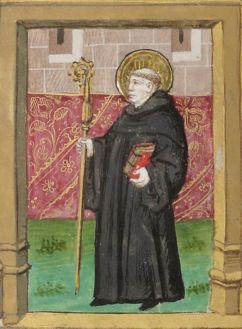 Munk in black robe, 1400's