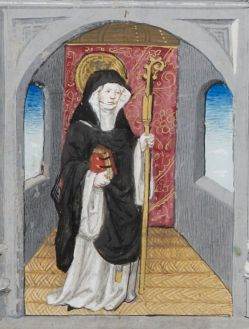 Nun in black robe wearing a white dress under the robe, 1400's