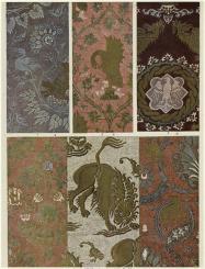 Italian silk polychrome damasks, 14th century.