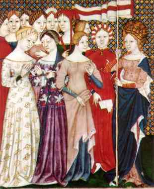 Italian women; 1380. Illustration form an Italian breviary showing women's figured silk gowns and a saint. Bilbliothèque Nationale, Paris.Scanned from Boucher, François: 20,000 Years of Fashion, Harry Abrams, 1966, p. 204