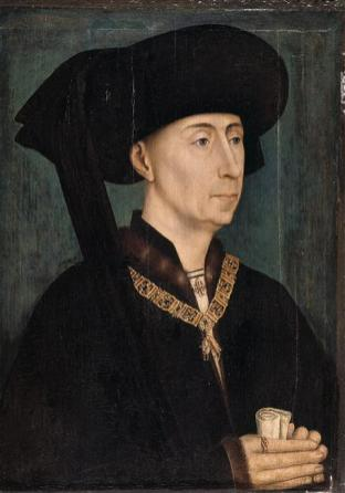 Portrait of Philip the Good (1396-1467), third Duke of Burgundy from the House of Valois. Half length, facing right. He is dressed in black, wearing a jewelled collar of firesteels in the shape of the letter B, for Burgundy, and flints, holding the Order of the Golden Fleece, which he instituted. The work is after Rogier van der Weyden i.e. a copy of a lost painting, although in this case it may also have exited as a drawing or sketch. There are several such copies (Lille, Antwerp and Paris), of which the Dijon version is thought to be the best.