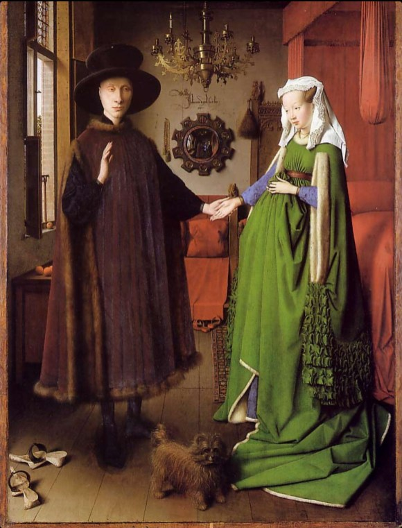 "He is wearing a heuque: Sleeveless outer garment joined only at the shoulders. jan van eyck ""arnolfinis wedding"", 1434"