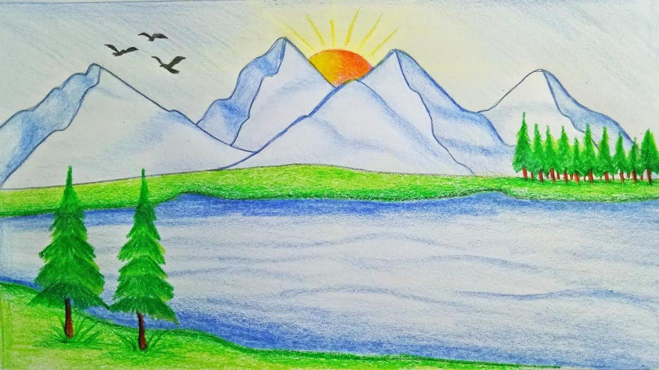 رسم منظر طبيعي سهل للاطفال اجمل الرسومات الخاصة بالاطفال