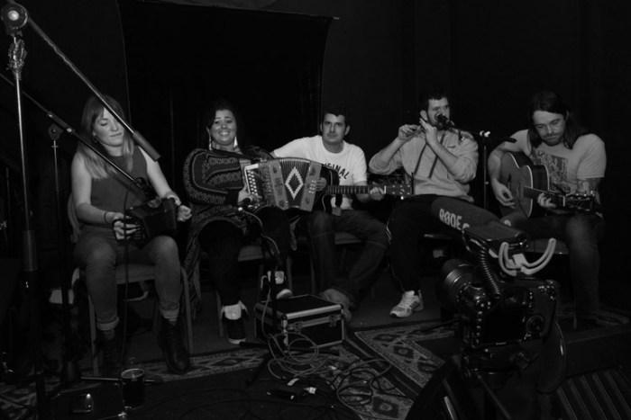 Members of Lankum and te Traveller Music Initiative