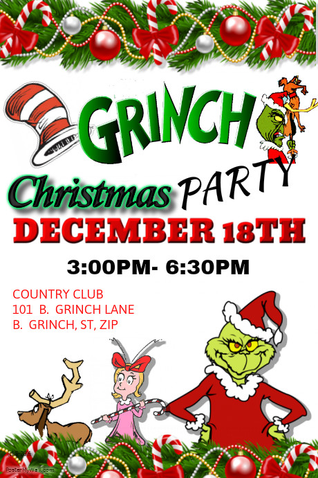 PosterMyWall The Grinch Party Template