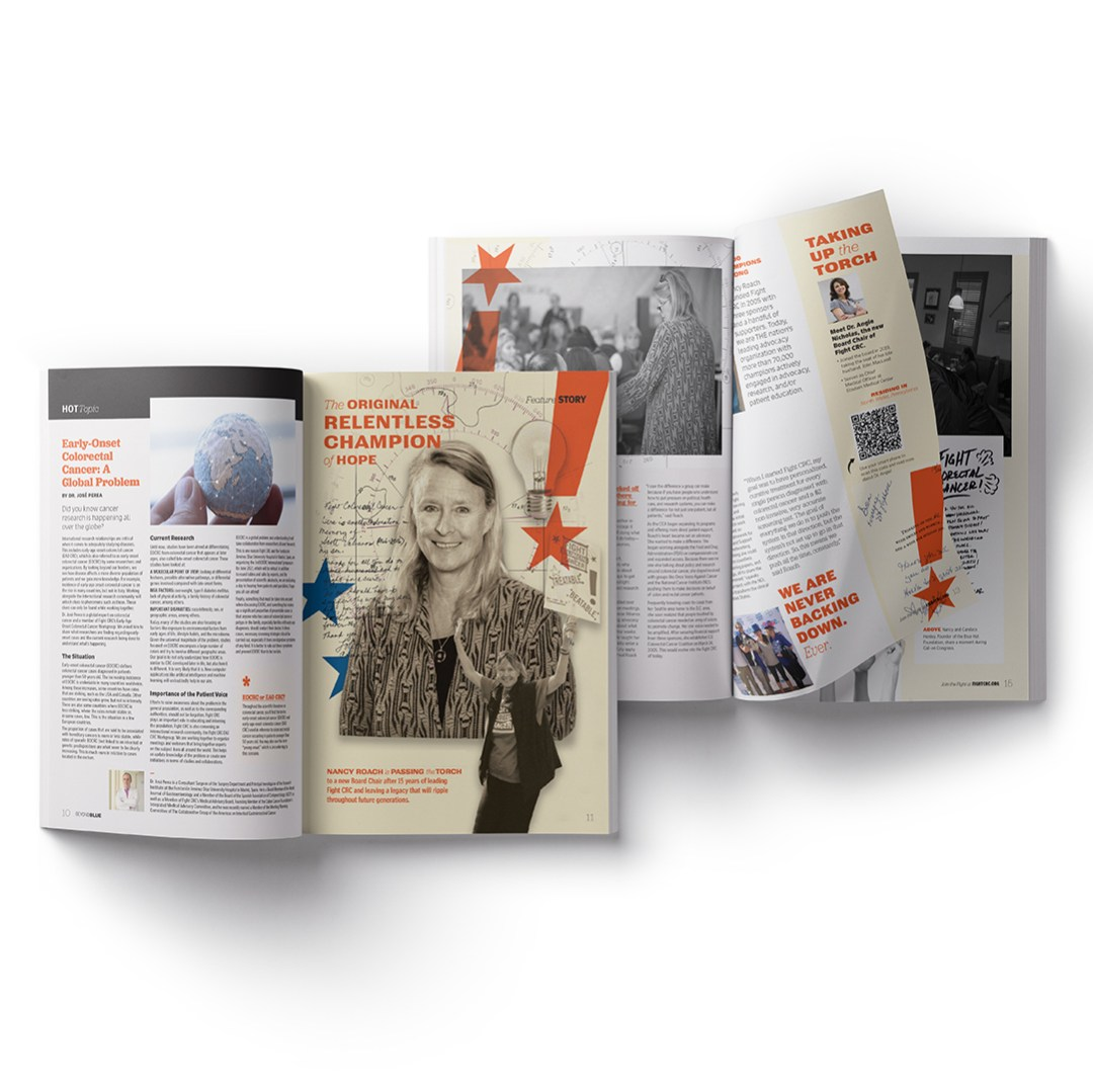 Inside spread of Fight Colorectal Cancer's magazine